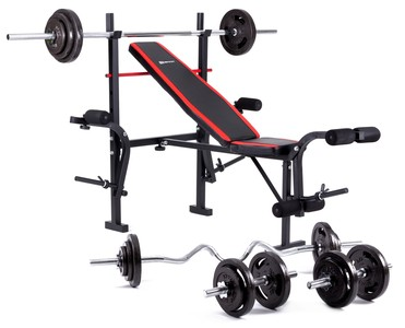 Hop-Sport Nakládací činkový set Strong 125kg + lavice HS-1055
