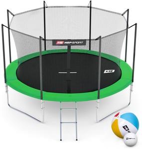 Hop-Sport Trampolína Hop-Sport 10ft (305cm) zelená s vnitřní ochrannou sítí - 4 podpůrné tyče