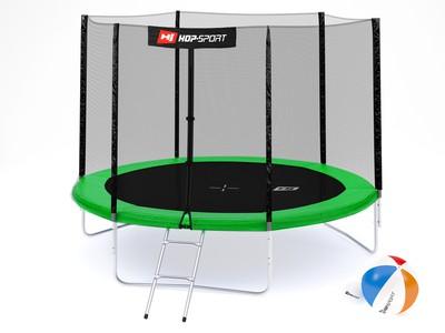 Hop-Sport Trampolína Hop-Sport 10ft (305cm) zelená s venkovní ochrannou sítí + žebřík