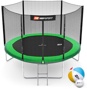 Hop-Sport Trampolína Hop-Sport 10ft (305cm) zelená s vnější ochrannou sítí - 3 podpůrné tyče