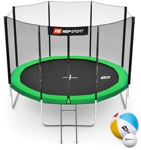 Hop-Sport Trampolína Hop-Sport 10ft (305cm) zelená s vnější ochrannou sítí - 4 podpůrné tyče