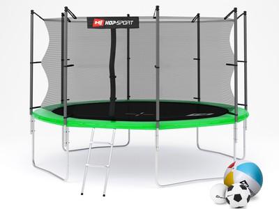 Hop-Sport Trampolína Hop-Sport 12ft (366cm) zelená s vnitřní ochrannou sítí + žebřík