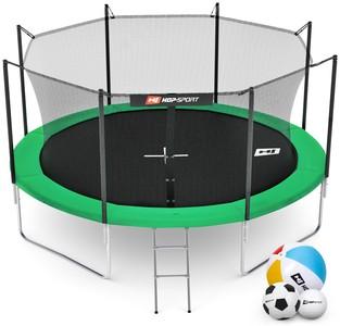 Hop-Sport Trampolína Hop-Sport 12ft (366cm) zelená s vnitřní ochrannou sítí