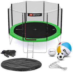 Hop-Sport Trampolína Hop-Sport 12ft (366cm) zelená s vnější ochrannou sítí