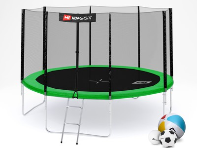 Hop-Sport Trampolína Hop-Sport 12ft (366cm) zelená s venkovní ochrannou sítí + žebřík
