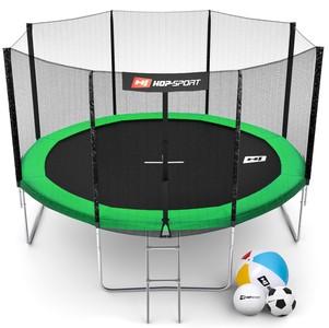 Hop-Sport Trampolína Hop-Sport 12ft (366cm) zelená s vnější ochrannou sítí + žebřík