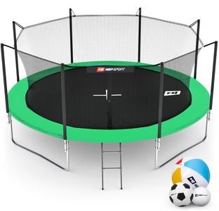 Hop-Sport Trampolína Hop-Sport 14ft (427cm) zelená s vnitřní ochrannou sítí + žebřík