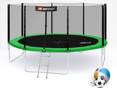 Hop-Sport Trampolína Hop-Sport 14ft (427cm) zelená s venkovní ochrannou sítí + žebřík