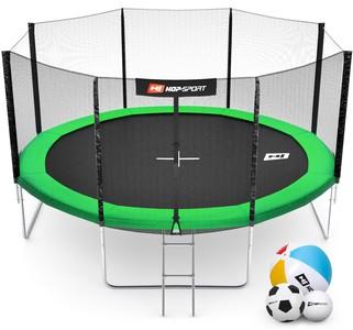 Hop-Sport Trampolína Hop-Sport 14ft (427cm) zelená s vnější ochrannou sítí + žebřík