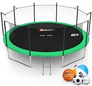 Hop-Sport Trampolína Hop-Sport 16ft (488cm) zelená s vnitřní ochrannou sítí + žebřík