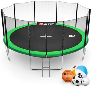 Hop-Sport Trampolína Hop-Sport 16ft (488cm) zelená s venkovní ochrannou sítí + žebřík