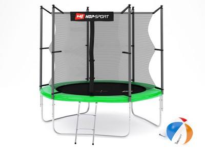 Hop-Sport Trampolína Hop-Sport 8ft (244cm) zelená s vnitřní ochrannou sítí + žebřík