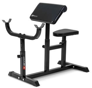 Hop-Sport Scottova lavice HS-1005 podložka pro posilování bicepsu volně stojící černá