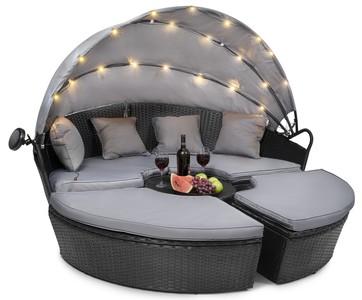 DiVolio Ratanová zahradní postel MILANO - černá