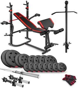 Hop-Sport Sada PREMIUM 50kg s lavicí HS-1065, kladkou a bicepsovou opěrou