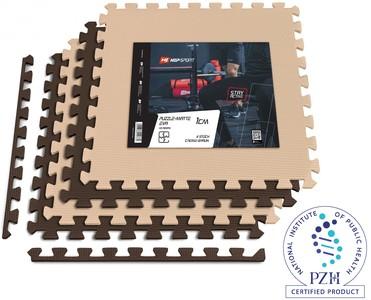 Hop-Sport Podložka puzzle EVA 1cm 4 ks krémově / hnědá