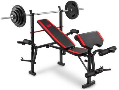 Hop-Sport Nakládací činkový set Strong 61 kg + lavice HS-1055