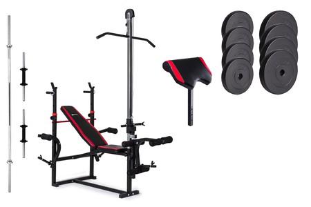 Hop-Sport Nakládací činkový set Premium 39,5kg + lavice HS-1070 + podložka biceps + kladka