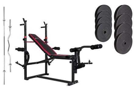Hop-Sport Nakládací činkový set Premium 74kg + lavice HS-1070