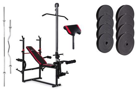 Hop-Sport Nakládací činkový set Premium 74kg + lavice HS-1070 + podložka biceps + kladka