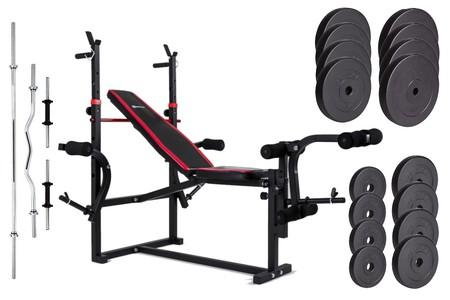 Hop-Sport Nakládací činkový set Premium 91kg + lavice HS-1070