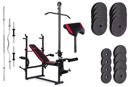 Hop-Sport Nakládací činkový set Premium 91kg + lavice HS-1070 + podložka biceps + kladka