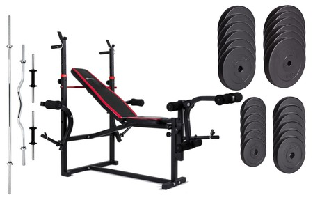 Hop-Sport Nakládací činkový set Premium 128kg + posilovací lavice HS-1070