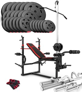 Hop-Sport Nakládací činkový set Premium 128kg + lavice HS-1070 + podložka biceps + kladka