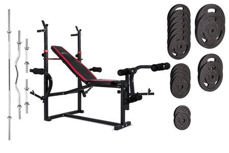 Hop-Sport Nakládací činkový set Strong 125kg + lavice HS-1070