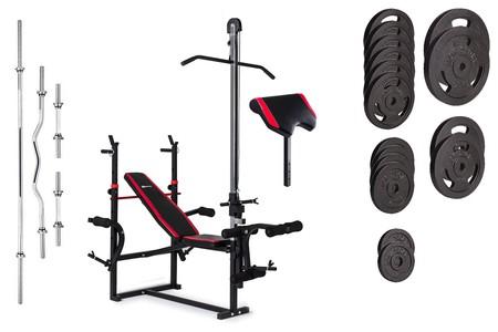 Hop-Sport Nakládací činkový set Strong 125kg + lavice HS-1070 + podložka biceps + kladka