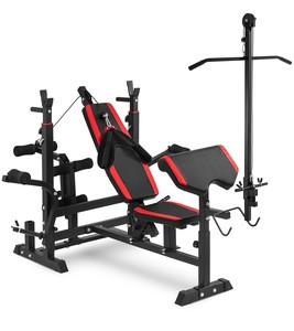 Hop-Sport Lavice HS-1075 s kladkou a podložkou pro procvičování bicepsů
