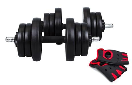 Hop-Sport Činky nakládací jednoruční set 2x10kg + rukavice