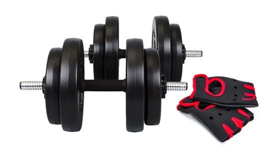 Hop-Sport Činky nakládací jednoruční set 2x15kg + rukavice