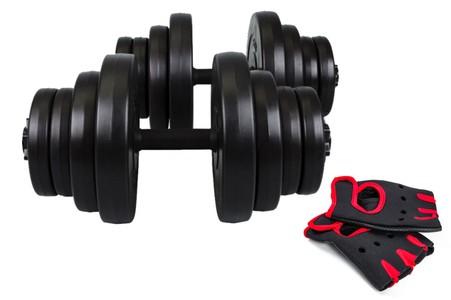Hop-Sport Činky nakládací jednoruční set 2x20kg + rukavice