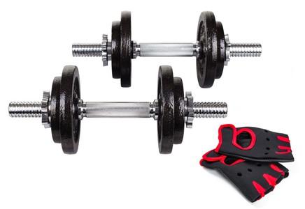 Hop-Sport Činky litinové nakládací jednoruční set 2x10kg + rukavice