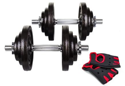 Hop-Sport Činky litinové nakládací jednoruční set 2x20kg + rukavice