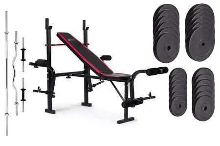 Hop-Sport Nakládací činkový set Premium 128kg + lavice HS-1055