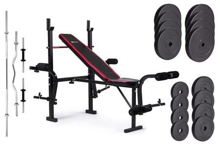 Hop-Sport Nakládací činkový set Premium 91kg + lavice HS-1055