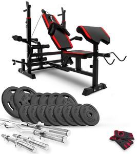 Hop-Sport Nakládací činkový set Strong 84kg + lavice HS-1075