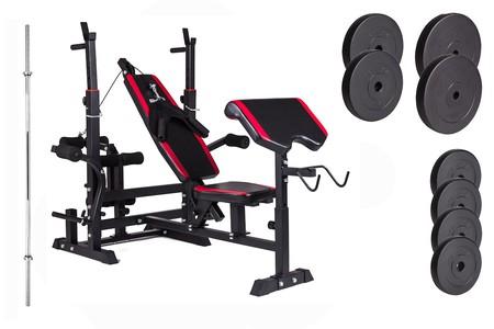 Hop-Sport Nakládací činkový set Premium 48kg + lavice HS-1075