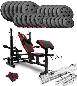 Hop-Sport Nakládací činkový set Premium 130kg + lavice HS-1075