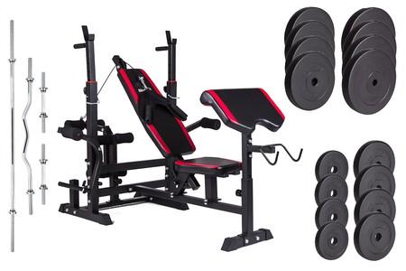 Hop-Sport Nakládací činkový set Premium 91kg + lavice HS-1075