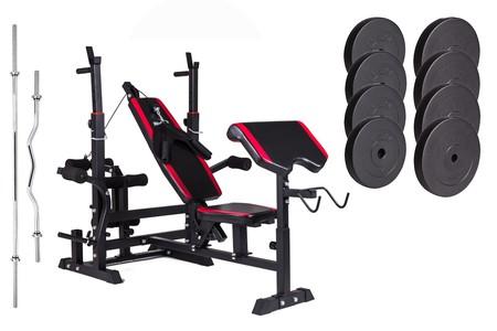 Hop-Sport Nakládací činkový set Premium 74kg + lavice HS-1075