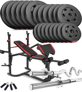 Hop-Sport Nakládací činkový set Premium 124kg + lavice HS-1020 s podložkou pro biceps