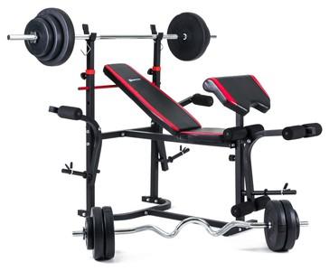 Hop-Sport Nakládací činkový set Premium 99kg + lavice HS-1020 s podložkou pro biceps