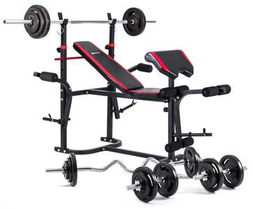 Hop-Sport Nakládací činkový set Strong 134,5kg + lavice HS-1020 s podložkou pro biceps